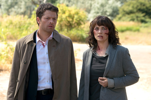 """Supernatural -- """"Soul Survivor"""" -- Image SN1001b_0177 -- Pictured (L-R): Misha Collins as Castiel and Erica Carroll as Hannah-- Credit: Diyah Pera/The CW -- © 2014 The CW Network, LLC. All Rights Reserved"""